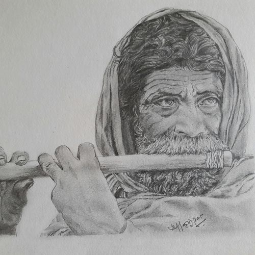 playing flute, 18 x 12 inch, santanu sen,modern drawings,paintings for living room,paper,graphite pencil,18x12inch,GAL019395371