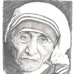 mother, 12 x 16 inch, santanu sen,portrait drawings,paintings for bedroom,mother teresa paintings,paper,graphite pencil,12x16inch,GAL019395372