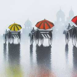 rhythmic monsoon ride, 18 x 12 inch, somnath bothe,contemporary paintings,paintings for office,canvas,charcoal,18x12inch,GAL07335373