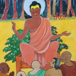 buddha with disciples, 11 x 15 inch, aradhana gupta,buddha paintings,paintings for living room,cartridge paper,watercolor,11x15inch,religious,peace,meditation,meditating,gautam,goutam,buddha,forest,monks,giving blessing,prayers,lessons,teaching,GAL018525378