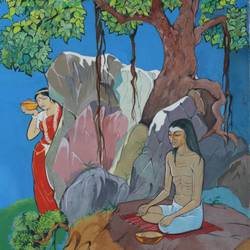 buddha and amrapali, 11 x 15 inch, aradhana gupta,buddha paintings,paintings for living room,cartridge paper,watercolor,11x15inch,religious,peace,meditation,meditating,gautam,goutam,buddha,forest,tree,GAL018525379