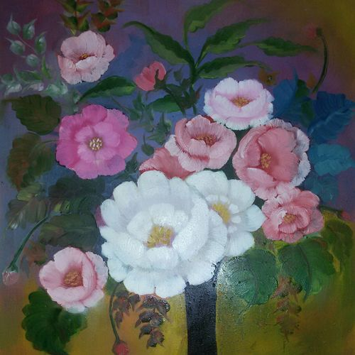 pot of happiness, 14 x 21 inch, pankaj tunwal,flower paintings,paintings for living room,thick paper,oil,14x21inch,GAL0276538