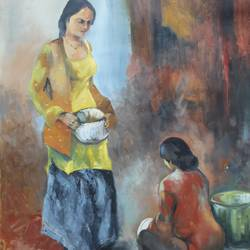 domestic help, 22 x 30 inch, aradhana gupta,paintings for office,figurative paintings,paper,oil paint,22x30inch,GAL018525381