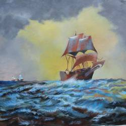 ship stuck in storm, 30 x 24 inch, aradhana gupta,landscape paintings,paintings for living room,canvas,acrylic color,30x24inch,GAL018525383