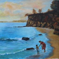 seascape, 36 x 24 inch, aradhana gupta,landscape paintings,paintings for living room,canvas,acrylic color,36x24inch,GAL018525384