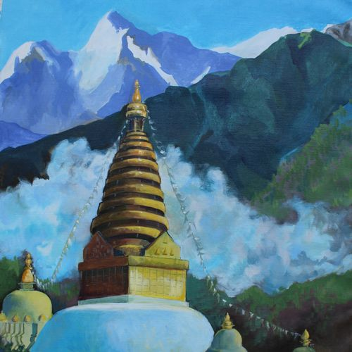 buddhist temple, 24 x 30 inch, aradhana gupta,religious paintings,paintings for dining room,canvas,acrylic color,24x30inch,GAL018525385