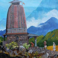 kedarnath temple, 27 x 33 inch, aradhana gupta,religious paintings,paintings for living room,canvas,acrylic color,27x33inch,GAL018525386