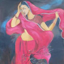 mohini, 15 x 22 inch, aradhana gupta,figurative paintings,paintings for bedroom,paper,oil paint,15x22inch,GAL018525387