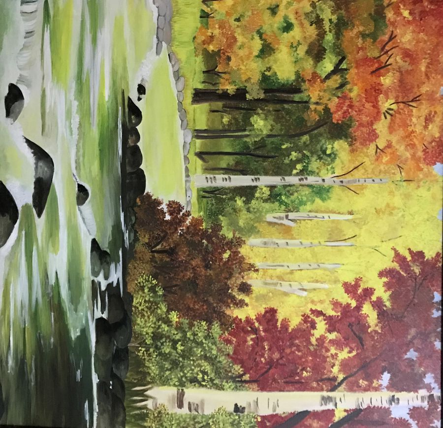 water stream , 36 x 36 inch, ayush sawaria,nature paintings,paintings for living room,canvas,oil,36x36inch,GAL019535388Nature,environment,Beauty,scenery,greenery,trees,water,autumn
