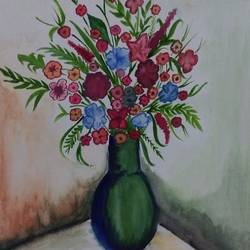 flowers of happiness, 8 x 12 inch, krati agarwal,portrait paintings,renaissance watercolor paper,watercolor,8x12inch,GAL0278539