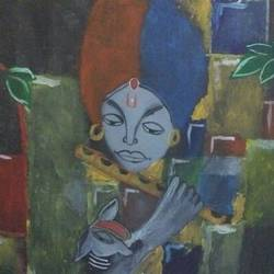 the art of lord, 24 x 17 inch, anoushka  srivastava,folk art paintings,paintings for bedroom,canvas,fabric,24x17inch,GAL019625390