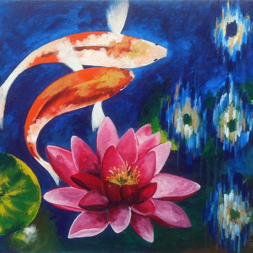 koi fish in water lily pond, 18 x 14 inch, sharmishtha khichar,nature paintings,paintings for bedroom,canvas,acrylic color,18x14inch,GAL019675394Nature,environment,Beauty,scenery,greenery