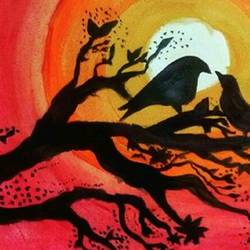 love birds in sunset, 17 x 12 inch, pranjali chaturvedi,love paintings,paintings for living room,cartridge paper,acrylic color,17x12inch,GAL019045396heart,family,caring,happiness,forever,happy,trust,passion,romance,sweet,kiss,love,hugs,warm,fun,kisses,joy,friendship,marriage,chocolate,husband,wife,forever,caring,couple,sweetheart