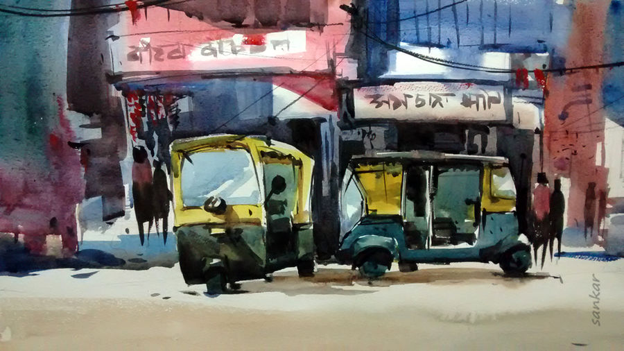 market, 21 x 15 inch, sankar thakur,cityscape paintings,paintings for office,fabriano sheet,watercolor,21x15inch,GAL0754
