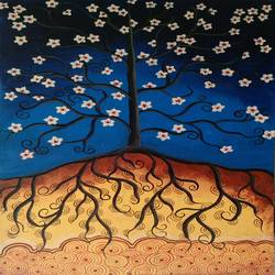 whimsical tree, 24 x 36 inch, madhavi sandur,abstract paintings,paintings for dining room,canvas,acrylic color,24x36inch,GAL0283540
