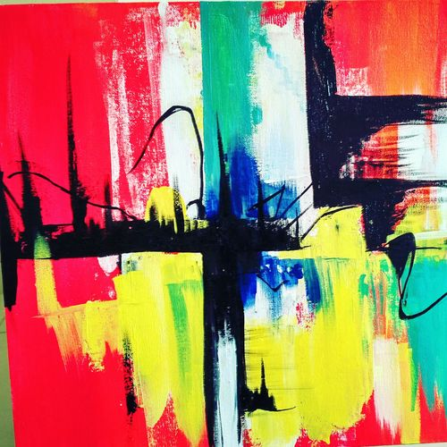 life in a metro, 18 x 24 inch,  noopur mishra,abstract paintings,paintings for living room,canvas,acrylic color,18x24inch,GAL019655404