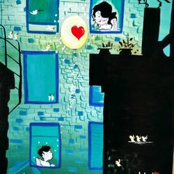 childhood romance, 18 x 24 inch,  noopur mishra,love paintings,paintings for bedroom,canvas,fabric,18x24inch,GAL019655405heart,family,caring,happiness,forever,happy,trust,passion,romance,sweet,kiss,love,hugs,warm,fun,kisses,joy,friendship,marriage,chocolate,husband,wife,forever,caring,couple,sweetheart