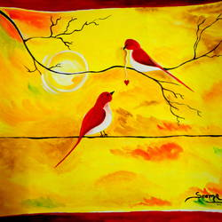 love birds enjoying sunset, 12 x 11 inch, seema agrawal,paintings for bedroom,love paintings,paintings,cartridge paper,watercolor,12x11inch,GAL018595418heart,family,caring,happiness,forever,happy,trust,passion,romance,sweet,kiss,love,hugs,warm,fun,kisses,joy,friendship,marriage,chocolate,husband,wife,forever,caring,couple,sweetheart