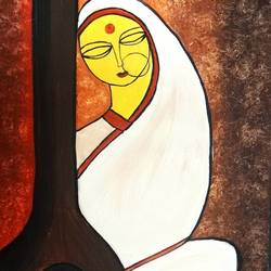 meera 1, 18 x 24 inch, madhavi sandur,abstract paintings,paintings for living room,canvas,acrylic color,18x24inch,GAL0283542
