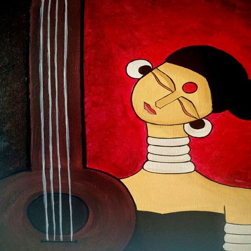 meera 2, 18 x 24 inch, madhavi sandur,abstract paintings,paintings for living room,canvas,acrylic color,18x24inch,GAL0283543