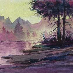 foggy nature, 12 x 8 inch, mahendra shewale,nature paintings,paintings for living room,handmade paper,watercolor,12x8inch,GAL018725431Nature,environment,Beauty,scenery,greenery
