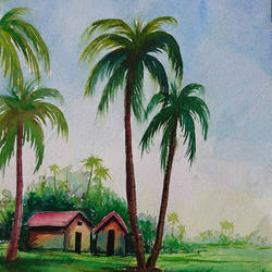 coconut tree , 10 x 14 inch, mahendra shewale,nature paintings,paintings for living room,handmade paper,watercolor,10x14inch,GAL018725432Nature,environment,Beauty,scenery,greenery