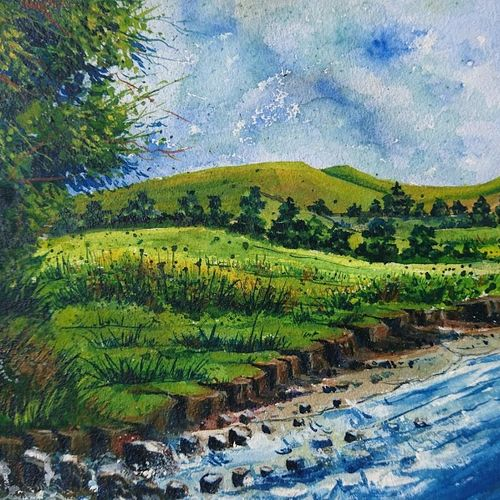 dawn of the river, 14 x 10 inch, mahendra shewale,nature paintings,paintings for living room,handmade paper,watercolor,14x10inch,GAL018725436Nature,environment,Beauty,scenery,greenery