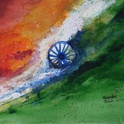 india flag , 14 x 10 inch, mahendra shewale,abstract paintings,paintings for living room,handmade paper,watercolor,14x10inch,GAL018725437