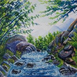 waterfall, 14 x 10 inch, mahendra shewale,nature paintings,paintings for living room,handmade paper,watercolor,14x10inch,GAL018725440Nature,environment,Beauty,scenery,greenery