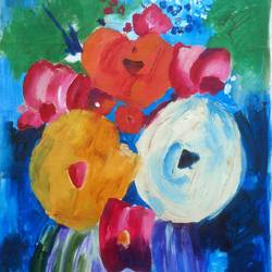 fresh flowers in the monsoon, 17 x 24 inch, sharmishtha khichar,flower paintings,paintings for living room,canvas,acrylic color,17x24inch,GAL019675441