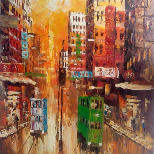 a rainy day in central hong kong, 25 x 37 inch, sharmishtha khichar,cityscape paintings,paintings for living room,canvas,acrylic color,25x37inch,GAL019675443