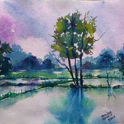 rainy farm , 14 x 10 inch, mahendra shewale,nature paintings,paintings for living room,handmade paper,watercolor,14x10inch,GAL018725447Nature,environment,Beauty,scenery,greenery