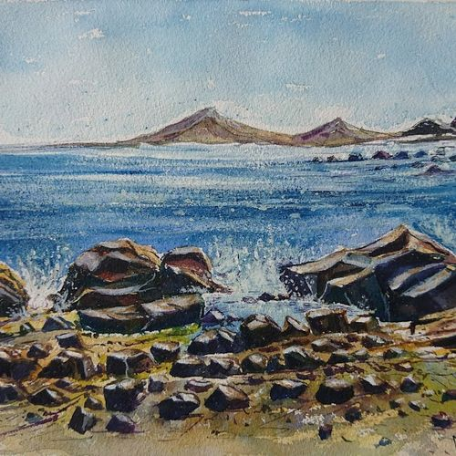 sea rocks, 14 x 10 inch, mahendra shewale,nature paintings,paintings for living room,handmade paper,watercolor,14x10inch,GAL018725448Nature,environment,Beauty,scenery,greenery