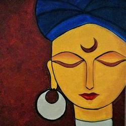 turban woman, 18 x 24 inch, madhavi sandur,abstract paintings,paintings for living room,canvas,acrylic color,18x24inch,GAL0283545