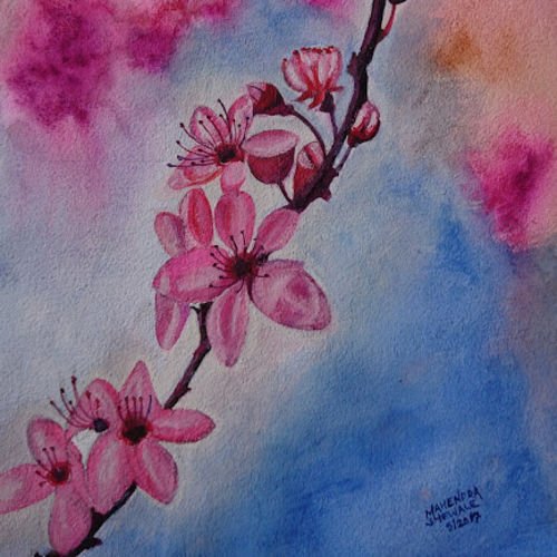 pink cherry blossom, 10 x 14 inch, mahendra shewale,nature paintings,paintings for dining room,handmade paper,watercolor,10x14inch,GAL018725453Nature,environment,Beauty,scenery,greenery