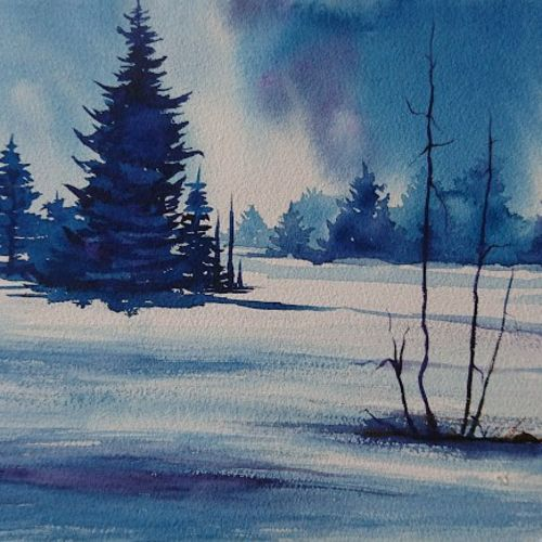 forest in snow , 14 x 10 inch, mahendra shewale,paintings for living room,landscape paintings,handmade paper,watercolor,14x10inch,GAL018725456