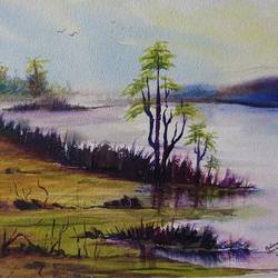 river view, 14 x 10 inch, mahendra shewale,nature paintings,paintings for living room,handmade paper,watercolor,14x10inch,GAL018725457Nature,environment,Beauty,scenery,greenery