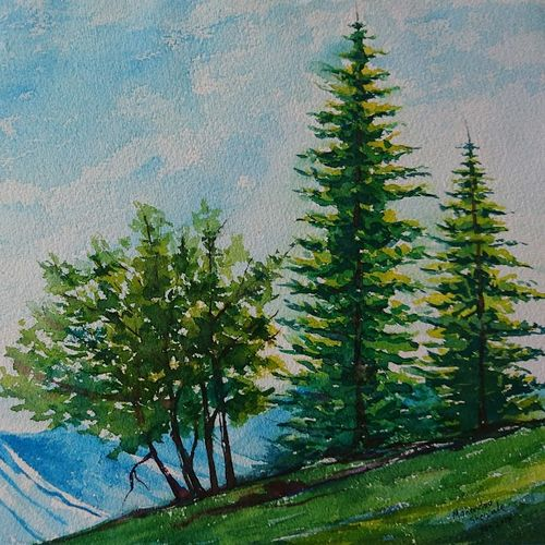 hilly nature , 14 x 10 inch, mahendra shewale,paintings for living room,nature paintings,handmade paper,watercolor,14x10inch,GAL018725460Nature,environment,Beauty,scenery,greenery