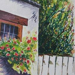 beautiful house, 7 x 10 inch, mahendra shewale,nature paintings,paintings for living room,handmade paper,natural color,7x10inch,GAL018725461Nature,environment,Beauty,scenery,greenery