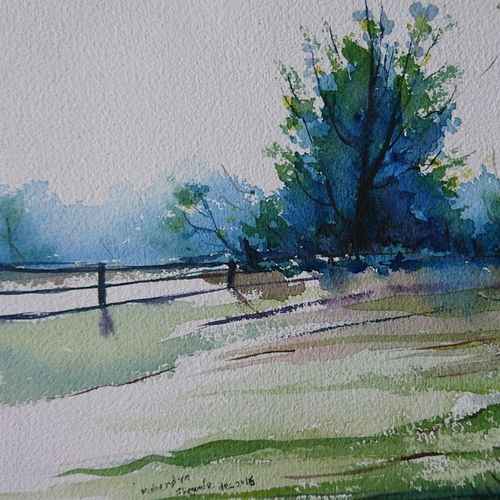 nature farm , 12 x 8 inch, mahendra shewale,nature paintings,paintings for living room,handmade paper,watercolor,12x8inch,GAL018725462Nature,environment,Beauty,scenery,greenery