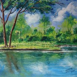 natural water river , 14 x 10 inch, mahendra shewale,nature paintings,paintings for living room,handmade paper,watercolor,14x10inch,GAL018725466Nature,environment,Beauty,scenery,greenery