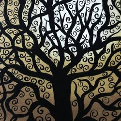 tree, 16 x 22 inch, madhavi sandur,abstract paintings,paintings for living room,canvas,acrylic color,16x22inch,GAL0283547