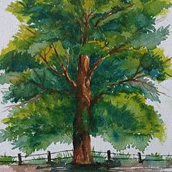 big tree, 8 x 12 inch, mahendra shewale,landscape paintings,paintings for living room,handmade paper,watercolor,8x12inch,GAL018725471
