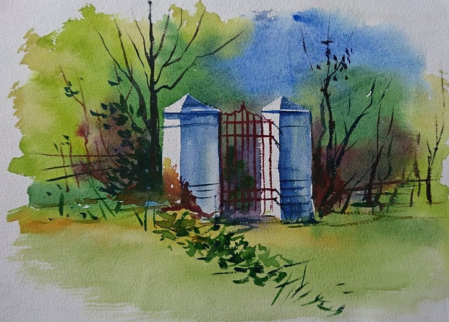 gate, 14 x 10 inch, mahendra shewale,nature paintings,paintings for living room,handmade paper,watercolor,14x10inch,GAL018725472Nature,environment,Beauty,scenery,greenery