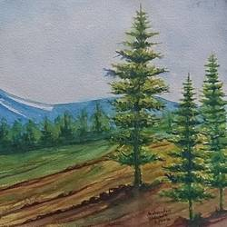 forest beauty , 14 x 10 inch, mahendra shewale,nature paintings,paintings for living room,handmade paper,watercolor,14x10inch,GAL018725473Nature,environment,Beauty,scenery,greenery