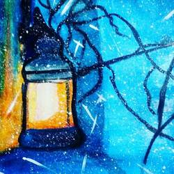 lantern, 17 x 12 inch, pranjali chaturvedi,modern art paintings,paintings for dining room,cartridge paper,acrylic color,17x12inch,GAL019045474