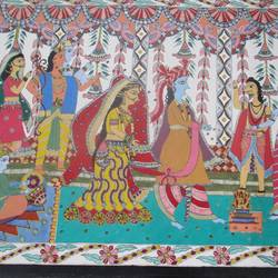 subh phere, 30 x 22 inch, guriya kumari,religious paintings,paintings for living room,canvas,fabric,30x22inch,GAL019815481