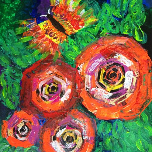 roses and butterfly, 20 x 28 inch, amita dand,abstract paintings,paintings for office,thick paper,acrylic color,20x28inch,GAL014675482