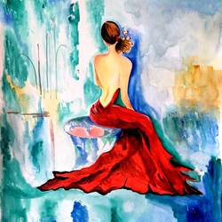 modern art-2: maaya-lady in red, 11 x 13 inch, seema agrawal,paintings for living room,paintings,love paintings,cartridge paper,watercolor,11x13inch,GAL018595483