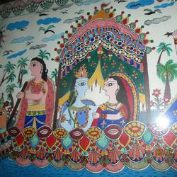 gods are crossing river, 22 x 15 inch, guriya kumari,religious paintings,paintings for living room,canvas,fabric,22x15inch,GAL019815487